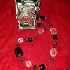Black and clear bead necklace